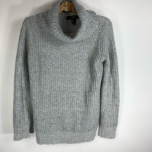 Forever 21 Grey Fuzzy Ribbed Cowl Neck Sweater M